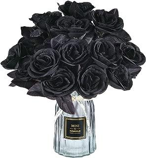 Hamore Artificial Black Roses Bouquet Fake Silk Rose Flower Artificial Flower Bouquets Silk Black Roses Bouquet for Wedding Party Home Kitchen Office Table Centerpieces Arrangements Decor, 4pcs