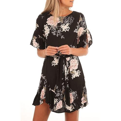 HOTAPEI Women s Floral Pattern Ruffle Hem Chiffon Dress cb26c3a88