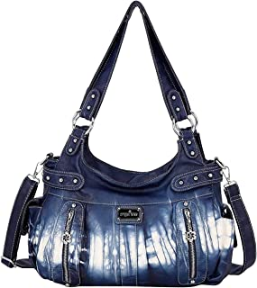 Sponsored Ad - Women Handbags Shoulder Bags Washed Leather Satchel Tote Bag Mutipocket Purse (AK812-7#DL2309#31AGREEN1)