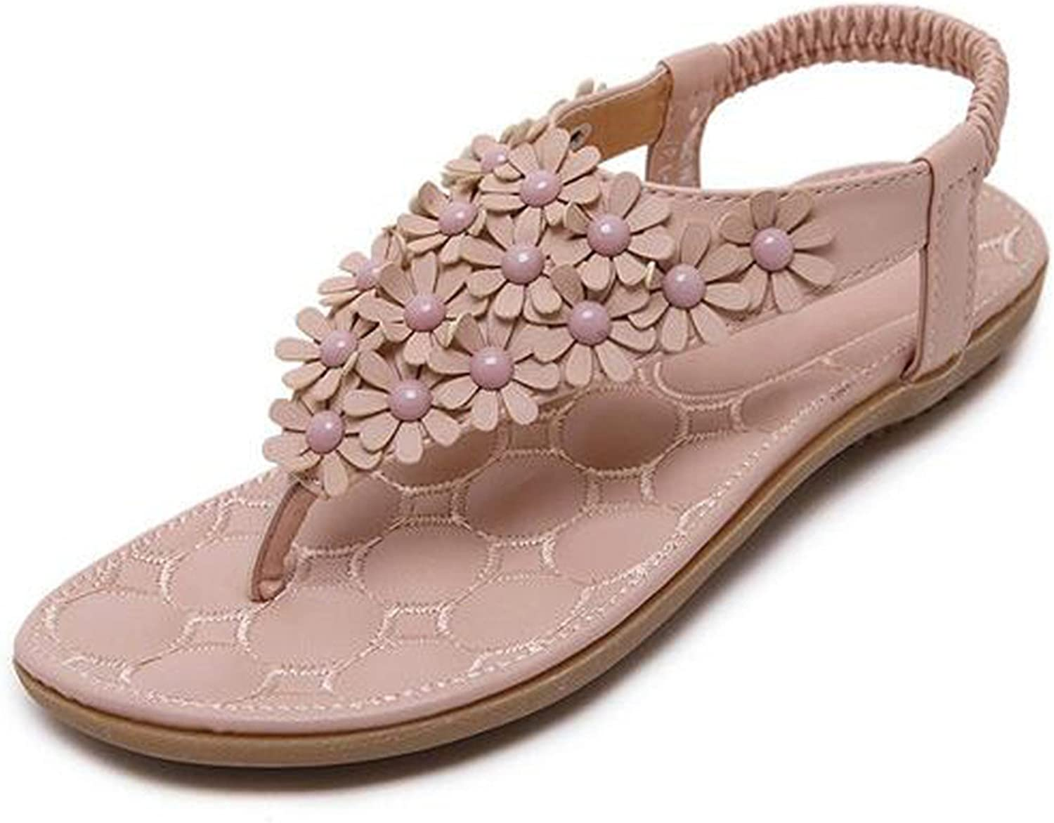 Nerefy Women Soft Casual Sandals Flowers Decoration with Flats Comfortable Wearing Women Beach shoes