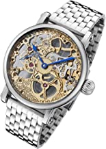 Rougois Mechanique Two Tone Skeleton Watch Polished Stainless Steel Band