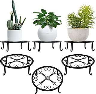 Lewondr Potted Plant Stand, [3-Pack] Heart Shape Indoor Iron Flowerpot Holder Rustproof Durable Metal Garden Container Out...