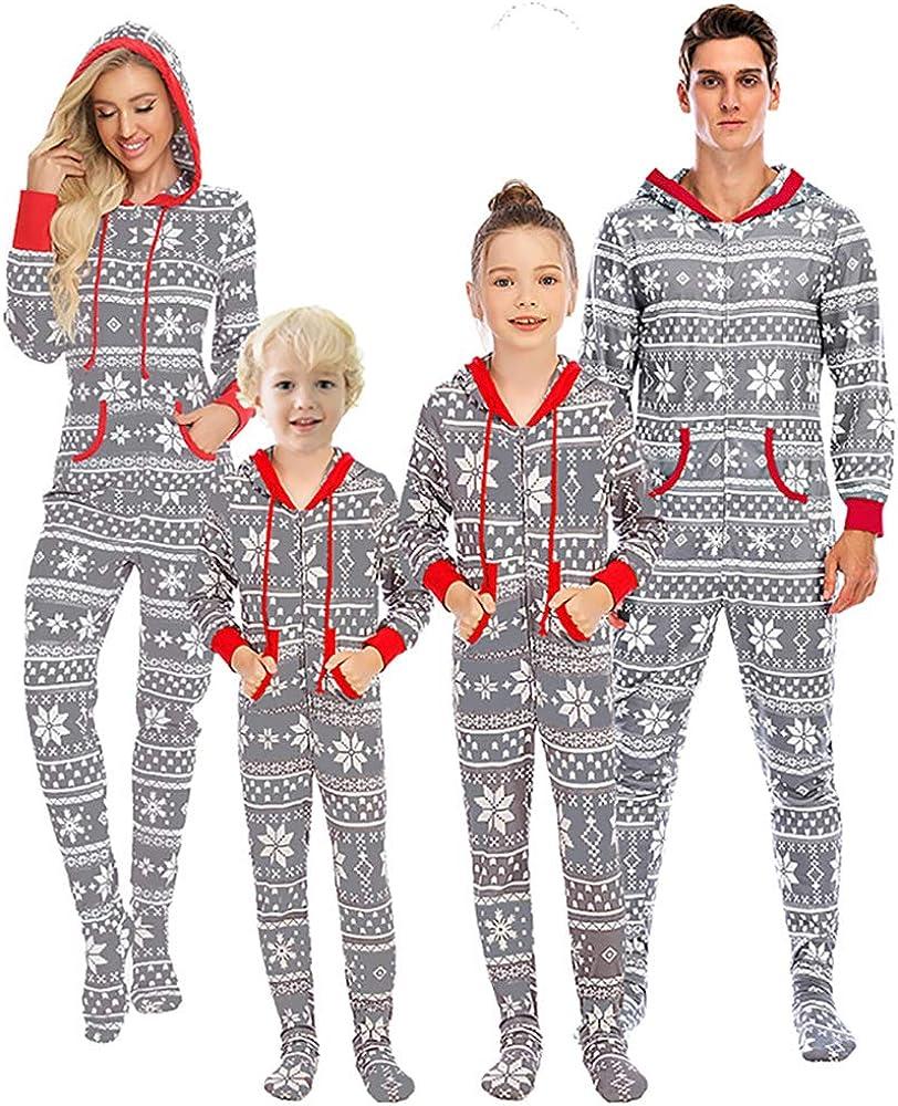 Nanxson Christmas Family Matching Pajamas Set Boys Girls Cartoon Sleepwear Long Sleeve PJS Set SQW0032 (Women-Large, Gray-34)
