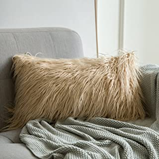 MIULEE Decorative New Luxury Series Style Brown Faux Fur Throw Pillow Case Cushion Cover for Sofa Bedroom Car 12 x 20 Inch 30 x 50 cm