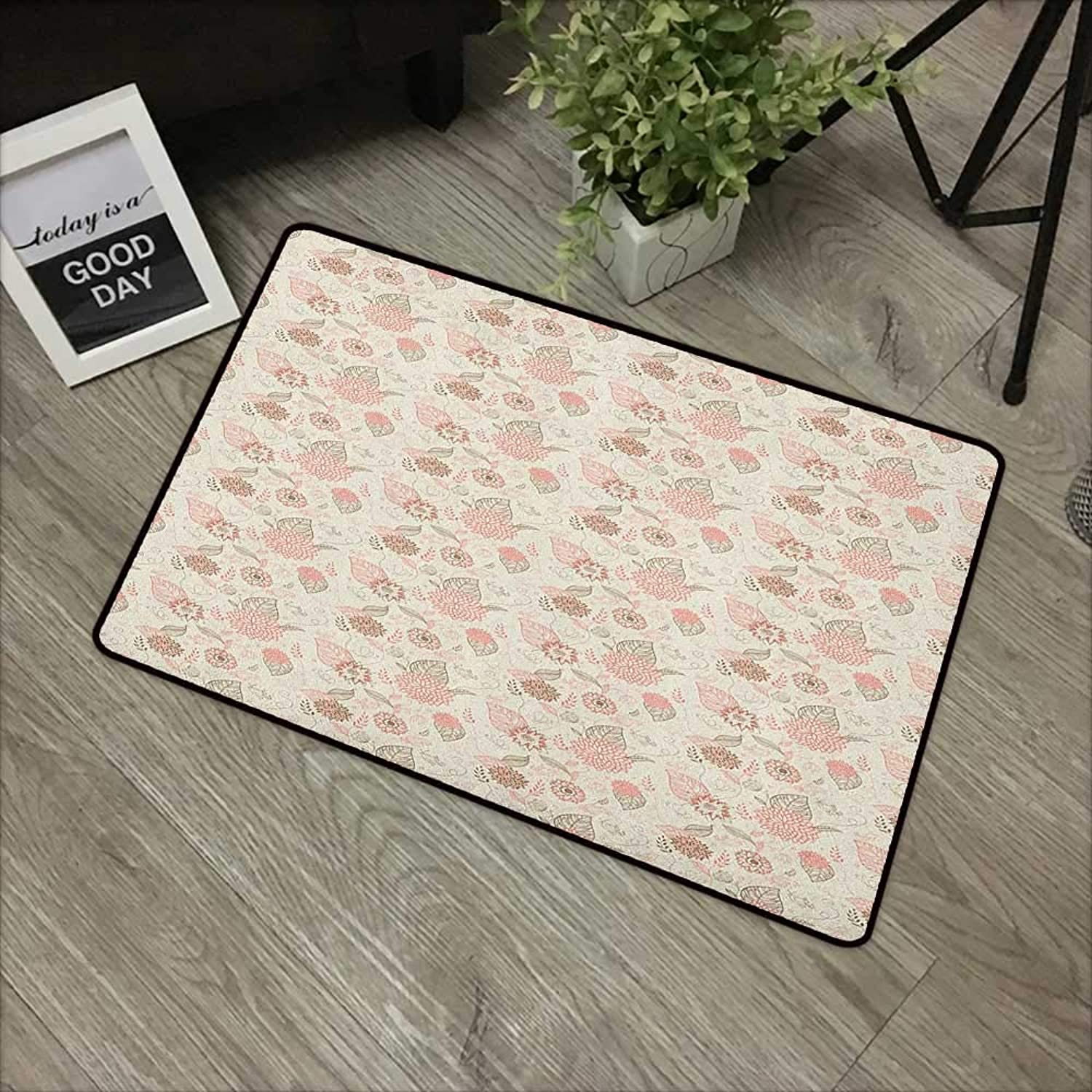 Clear Printed Pattern Door mat W24 x L35 INCH Vintage,Pastel colord Bird Butterfly and Flower Outlines with Ornamental Swirls, pink Sepia Beige with Non-Slip Backing Door Mat Carpet