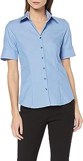 f7a12c140c2d73 Seidensticker Damen Bluse – Bügelfreie, leicht taillierte Hemdbluse mit  Hemdblusenkragen – Kurzarm – 100%