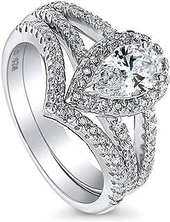 Rhodium Plated Sterling Silver Halo Engagement Wedding Split Shank Ring Set Made with Swarovski Zirconia Pear Cut 1.36 CTW