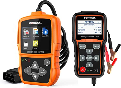 new arrival FOXWELL NT201 sale Check Engine Light 2021 OBD2 Scanner and FOXWELL BT705 12V 24V Car Battery Tester online