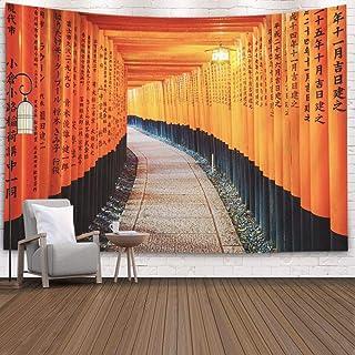 Jacrane Japanischer Zen-Wandteppich, bunter Tapisserie, 203,