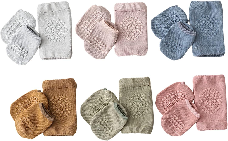 12 Pairs Baby Crawling Anti-Slip Knee Pads and Anti-Slip Baby Socks Set Unisex Toddler Knee Protectors Non Slip Ankle Socks