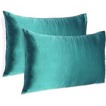 Oussum Satin 300 TC Pillow Cover (Teal_Standard)