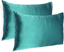 Soft and Comfortable Silky Satin Silk Pillowcase Pillow Case Cover for Hair & Skin Home Decor (Teal, Standard Size,20X26 INCHES)
