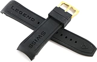 Swiss Legend 24MM Black Silicone Band Strap & Gold Stainless Buckle fits 46mm Avalanche Watch