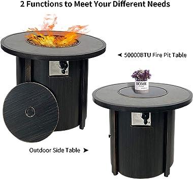 "Propane Gas Fire Pit Table,Summerville 32"" Round Gas Fire Pit Outdoor Fire Bowl Backyard Smokeless Firepits Patio Heater"