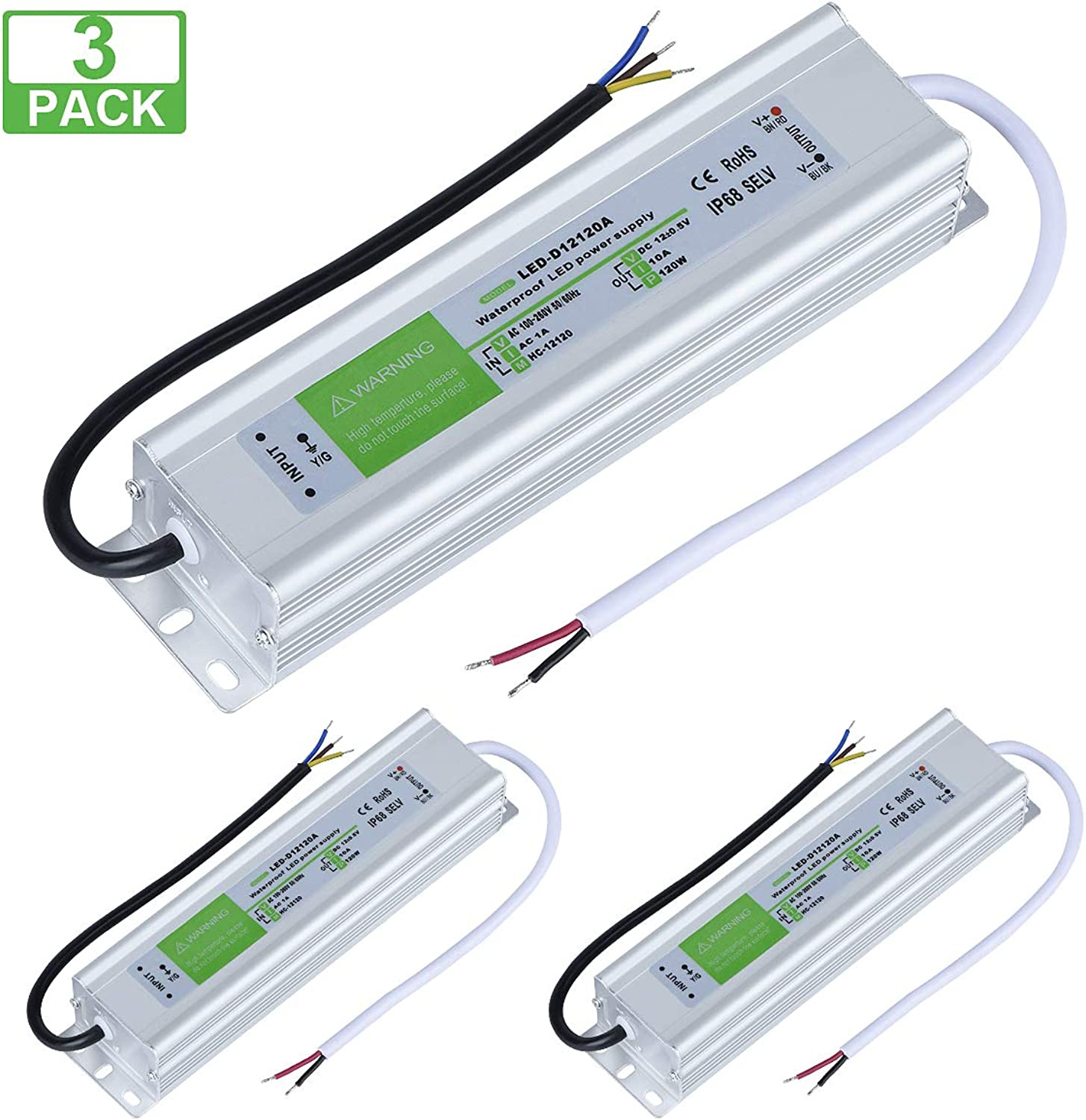 3 Pack LED Driver 120 Watts Waterproof IP68 Power Supply Transformer Adapter 100V-260V AC to 12V DC Low Voltage Output for LED Light, Computer Project, Outdoor Light and Any 12V DC led Lights