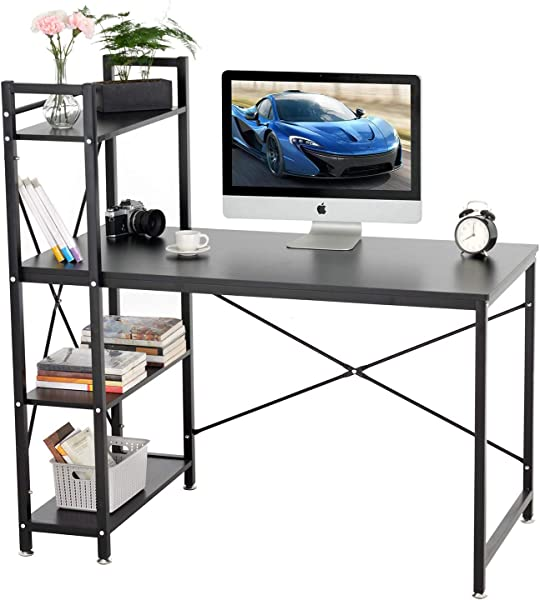 Mecor Computer Desk With 4 Tier Bookshelves Home Office Desk Writing Study Table Compact Workstation 47 2 Black