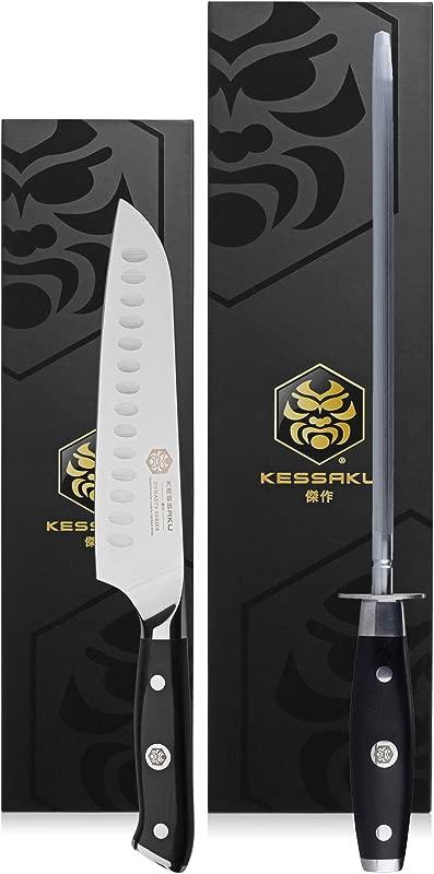 Kessaku 7 Inch Santoku Knife 10 Inch Sharpening Steel Honing Rod Set Dynasty Series German HC Steel G10 Full Tang Handle