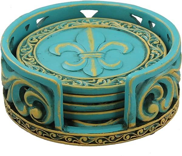Old River Outdoors Rustic Fleur De Lis Coaster Set W Ornate Holder Teal Blue