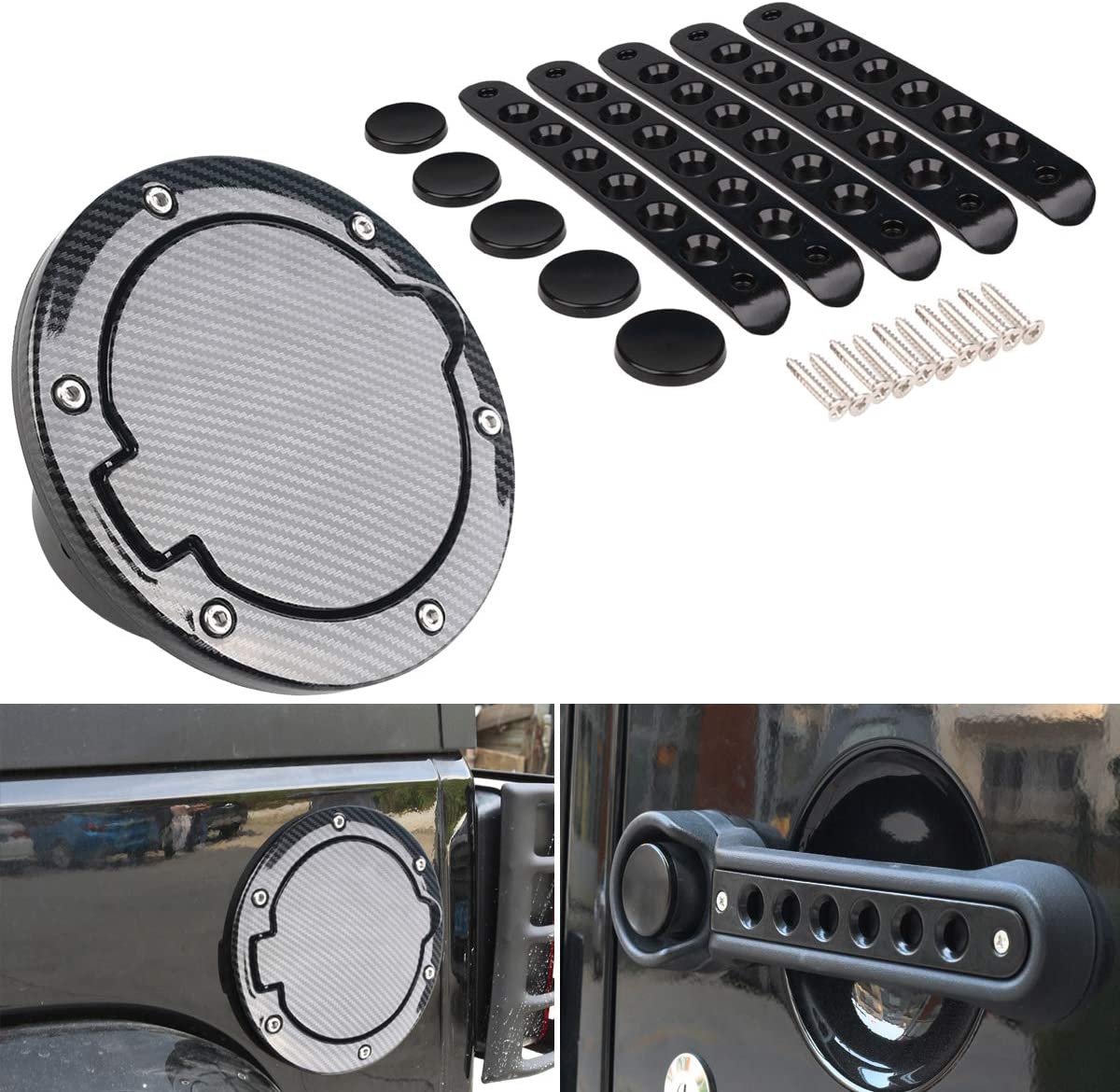 Black Carbon Fiber Max 60% OFF Gas Cap Cover + Inserts Door Handle for Now free shipping
