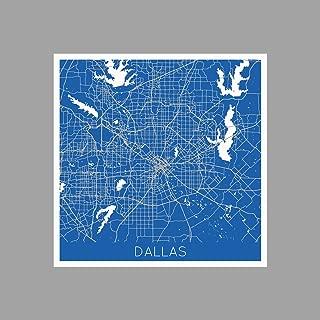 ArtsyCanvas Dallas - Basketball Color City Maps - 36x36 Matte Poster Print Wall Art