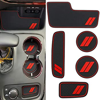 Red Trim CupHolderHero fits Dodge Charger and fits Chrysler 300 Accessories Interior Non-Slip Anti Dust Cup Holder Inserts 2011-2014 Door Pocket Liners 29-pc Set Center Console Liner Mats