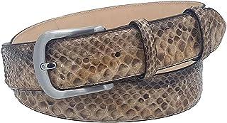 ESPERANTO Cintura in Pitone 4 cm lucido unisex Foderata in pelle Bovina Naturale con fibbia Nichel free anallergica