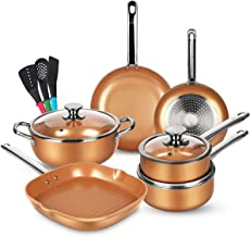 KUTIME 12pcs Nonstick Cookware Set, Pots and Pans Set with Stainless Steel Handles, Frying Pan Set Copper Ceramic Coating ...