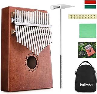 NASUM 17 Teclas Llaves Kalimba Dedo Pulgar Piano para Niños Regalo Cuerpo de Caoba Instrumento Musical con Martillo de Ajuste y Material de enseñanza
