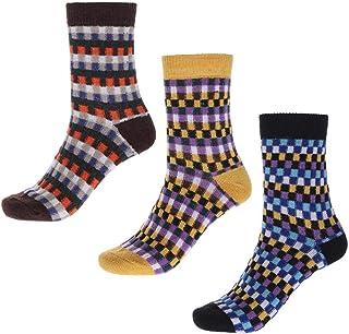 IYOU, Calcetines de lana vintage para mujer, color azul, acogedor, de lana, étnico, para invierno, al aire libre, senderismo, para mujeres y hombres (3 pares)