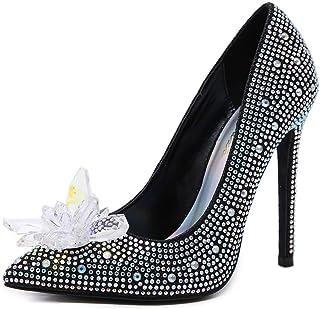 Peatutoori النساء مضخات Stilleo أحذية الكعب العالي الأزهار الكريستال الانزلاق على حجر الراين أحذية الزفاف الأسود