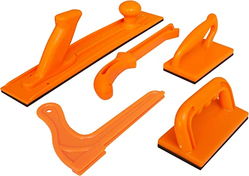 Safety Woodworking Push Block and Push Stick Package 5 Piece Set In Safety Orange Color, Ideal for Woodworkers and Us...