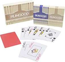 RUNGOOD Poker Playing Cards, 100% Plastic Premium Quality, 2-Deck Set Poker Size, w/ 2 Cut Cards; Standard or Jumbo Index; Professional Casino Style Playing Cards for NLH PLO Poker