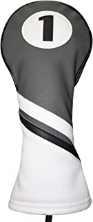 Majek Retro Golf Headcover Gray Black and White Vintage Leather Style 1 Driver Head Cover Fits 460cc Drivers