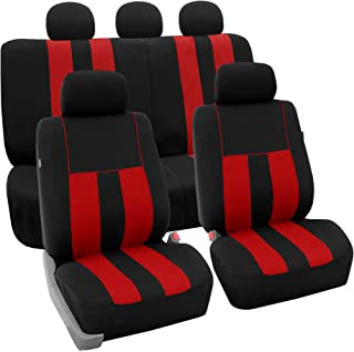FH Group FB036115 Striking Striped Seat Covers Airbag & Split Ready, Red/Black Color - Fit Most Car, Truck, SUV, or Van