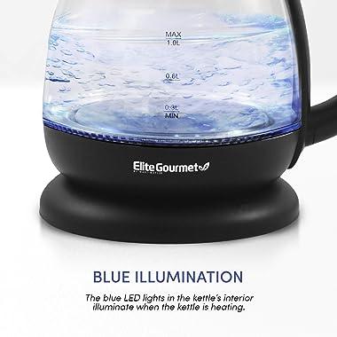 Elite Gourmet EKT1001 Electric BPA-Free Glass Kettle, Cordless 360° Base, Stylish Blue LED Interior, Handy Auto Shut-Off Func