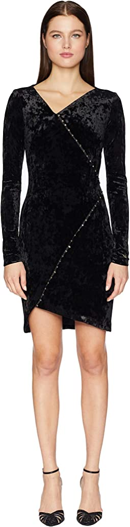 Embellished Long Sleeve Crossover Dress