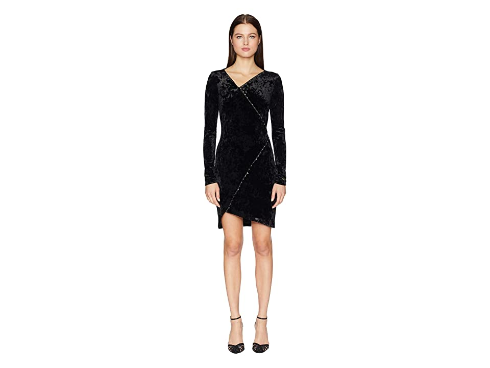 Versace Jeans Couture Embellished Long Sleeve Crossover Dress (Nero) Women