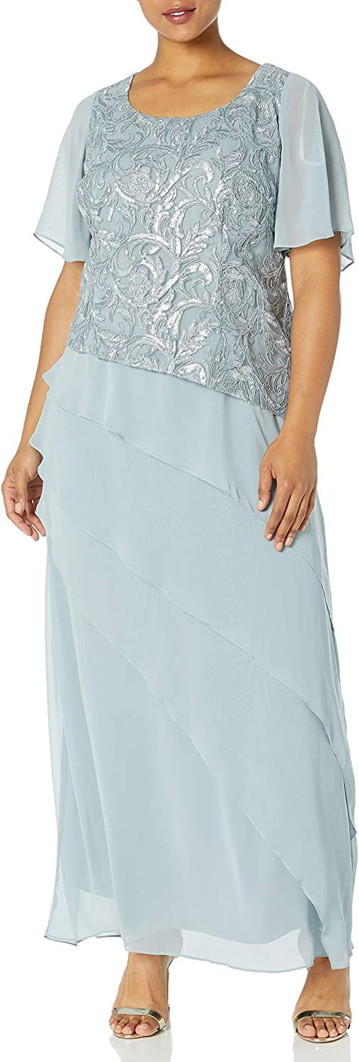 Le Bos Women's Plus Size Embroidered Sequin Tiered Long Dress