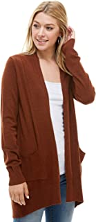 Alexander + David AD Womens Basic Open Front Knit Cardigan Sweater Top W/Pockets