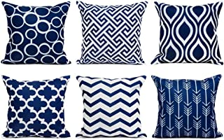 Top Finel Accent Decorative Throw Pillows Durable Canvas Outdoor Cushion Covers 16 X 16 for Couch Bedroom, Set of 6, Navy