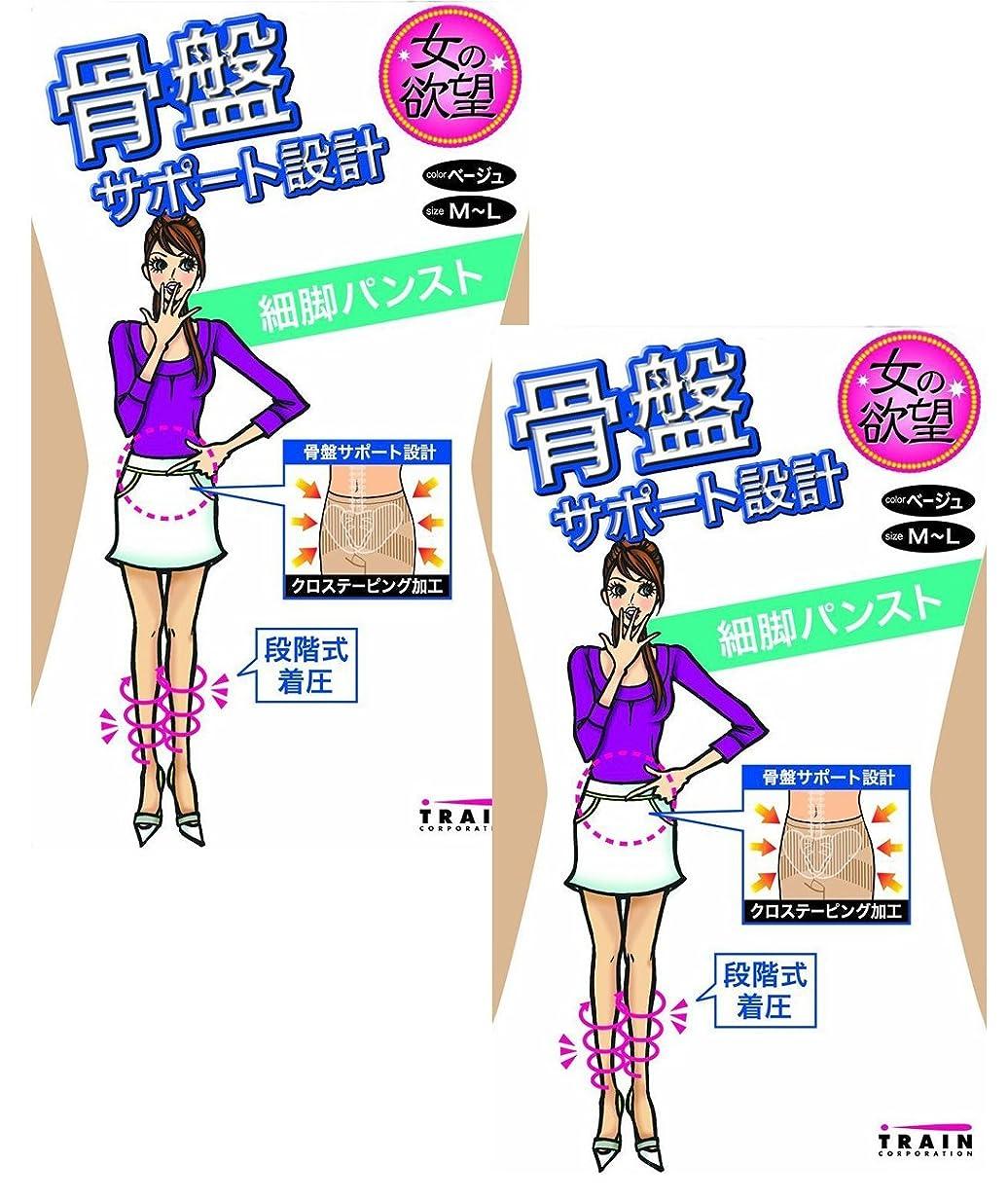 数学的な先見の明カポック女の欲望 骨盤サポート 設計 細脚 パンティストッキング (パンスト) 2足セット M-L ベージュ