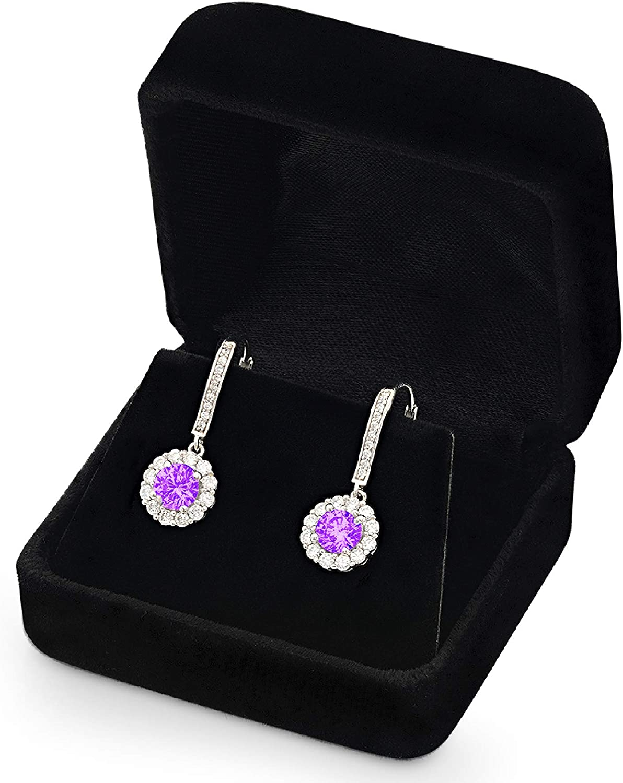 3.45ct Round Cut Halo Solitaire Natural Purple Amethyst VVS1 gemstone Unisex Designer Lever back Drop Dangle Earrings Solid 14k White Gold