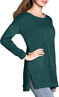 Women's Casual Long Sleeve Tunic Tops Side Split Loose Soft Pullover Blouse