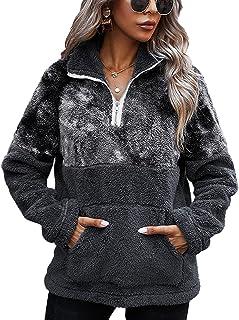 LIVACASA Sweatshirt dames winter warme hoodie oversized zacht meisjes teddy fleece pullover pluizige wintertrui sweater la...