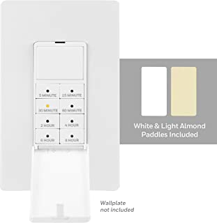 Honeywell Wall Push-Button Timer Switch, 5-15-30 Minute/1-2-4-6-8 Hour Countdown, Indoor/Outdoor, Neutral Wire Required, Single-Pole, Ideal for Exhaust Fans, Seasonal Lighting, LED, 40989, White