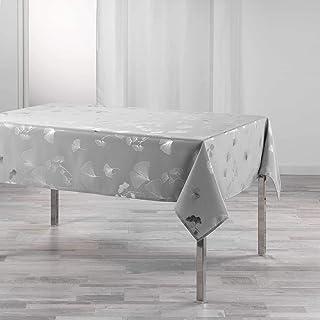 DOUCEUR D'INTERIEUR nappe rectangle 150 x 240 cm polyester imprime metallise bloomy gris/argent