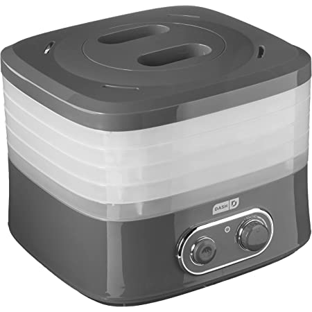 DASH DEHY100GY SmartStore Compact Electric Food Dehydrator Machine with 5 Stackable BPA Free Trays + Temperature Controls for Fruit, Vegetables, Herbs, Nuts, Jerky, and other Healthy Snacks - Gray