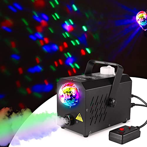 MVPower Machine à Fumée,avec des Lumières de Boule Magique, avec 2 Filaires et Télécommande Sans Fil et Réservoir 750...