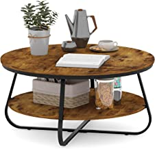 Elephance Round Coffee Table with Storage, 35.8 Inch Rustic Wood Coffee Table with Strong Metal Frame for Living Room, Din...