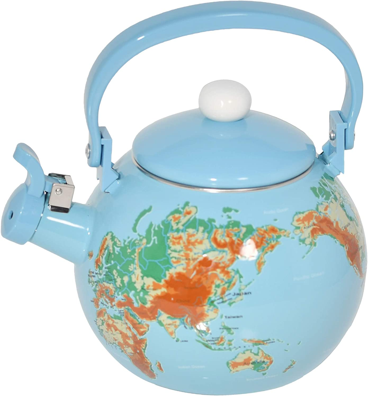 HOME-X Globe Map Under blast sales Elegant Whistling Tea Teapot Kitche Fruit Cute Kettle